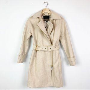 NWT J.CREW Classy Wool Belted Pea Coat Cream 2P